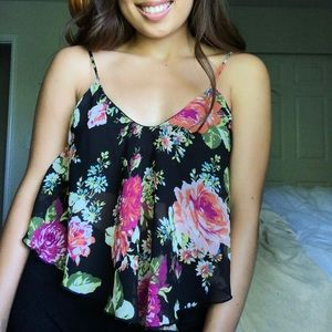 Floral Cropped Tank Top